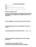 Student Paragraph Writing Self-Evaluation