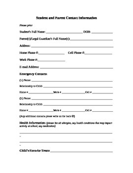 Student & Parent Contact Information