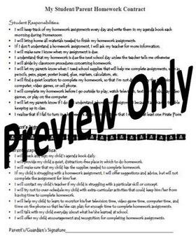 Back to School Student Parent Homework Contract