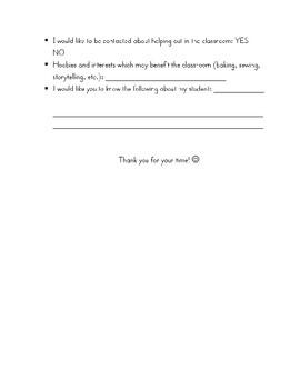 Student/Parent Info Sheet