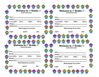 Student/Parent Information Cards