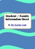 Student / Parent Information Sheet for Elementary/Middle School