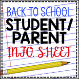 Student Parent Information Sheet
