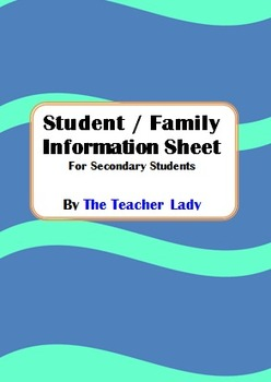 Student Parent Information Sheet for High School Students