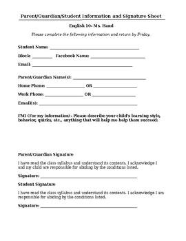 Student & Parent Information & Signature Sheet