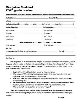 Student / Parent Information form and Brag letter