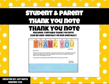 Student/Parent Thank You Note
