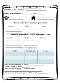 Student/ Parent  information in Spanish