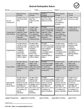 Student Participation Rubric--FREE