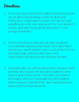 Student Participation Self-Assessment