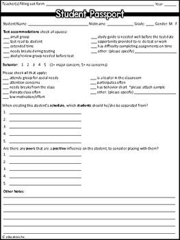 Student Passport Data Sheets