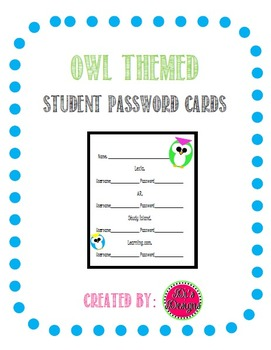 Owl Themed Student Password Cards