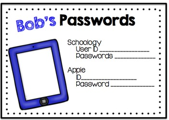 Student Password Cards