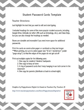 Student Password Cards Template