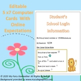 Student Password & Login Cards With Online Expectations fo