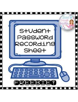 Student Password Recording Sheet {FREEBIE!}