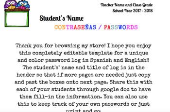 Student Password log - Google doc Editable