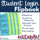 Student Passwords & Technology Info Flip Book (Editable Flipbook)
