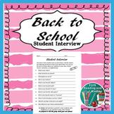 Student Peer Interview Sheet Back to School Activity