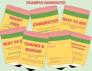 Student Pencil Slip Reward Handouts