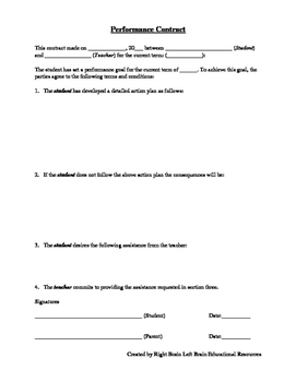 Student Performance Contract
