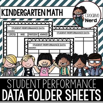 Student Performance Data Folder Sheets (Kindergarten Math)(Freebie)