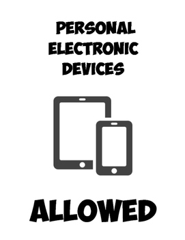 Student Personal Devices - Allowed/NotAllowed signs