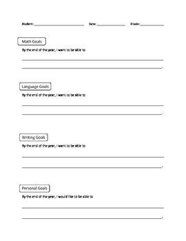 Student Personal Goals Sheet