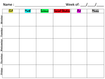 Extras: Student Planner / Agenda Sheet