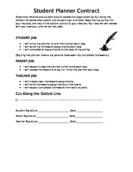 Student Planner Contract