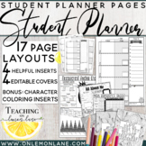 Student Planner (Editable Covers) Weekly Organizer w/ Reference Charts