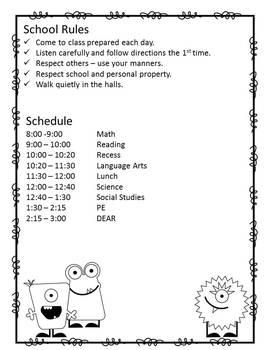 Student Planner - Monster Theme