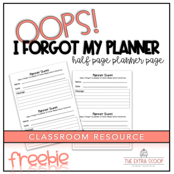 Student Planner Sheet