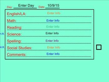 Student Planner Template, Dismissal Checklist, Transition Timer SMART Notebook