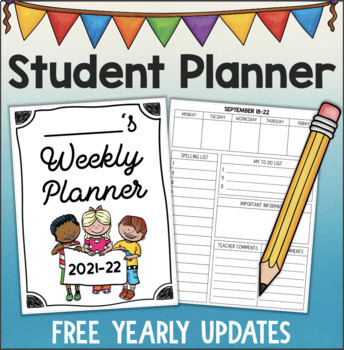 Student Planner Weekly Agenda For 2017-18 Updated Yearly By Fishyrobb