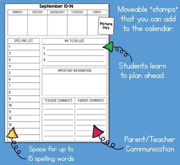 Student Planner Weekly Agenda UPDATED YEARLY