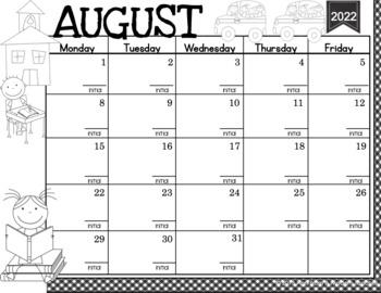 Kindergarten Calendar Student Binder Planner Folder