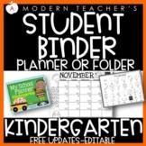 Kindergarten Student Planner Student Binder