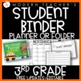 Third Grade Student Planner Student Binder