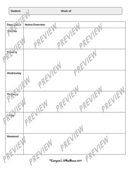 Student Planning Template for All Subject Areas
