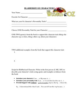 """Student Planning/Direction Sheet for """"Blabberized"""" Wizard"""