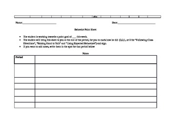 Student Point Sheet