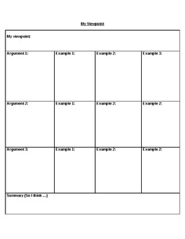 Student Point of View Graphic Organizer for brainstorm and paragraph writing