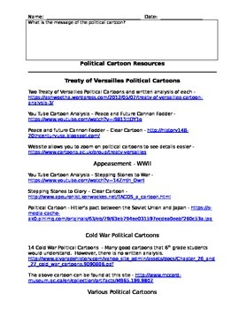 Student Political Analysis Sheet and Teacher Resources