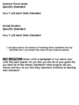 Student Portfolio cover sheet (Quarter format)