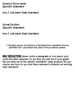 Student Portfolio cover sheet (Semester format)