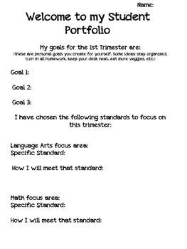 Student Portfolio cover sheet (Trimester format)