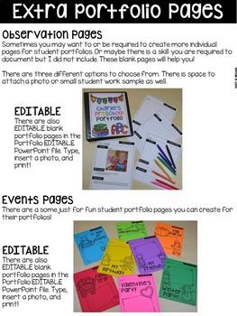 Student Portfolios for Preschool, Pre-K, and Kindergarten