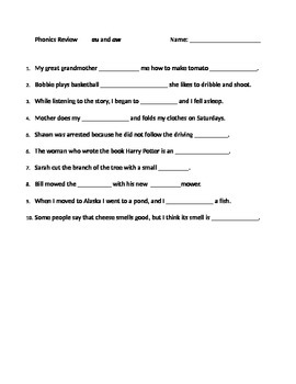 Student Practice Worksheet AU and AW Dipthongs