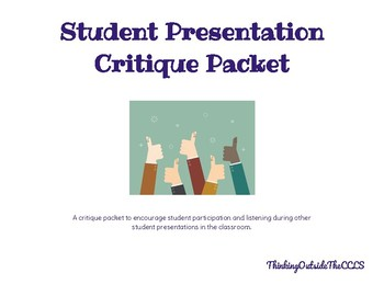 Student Presentation Critique Packet